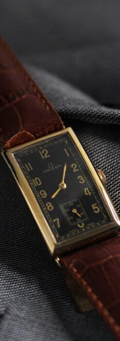オメガのシックな黒色文字盤 品ある縦長アンティーク腕時計 【1940年製】-W1529-19