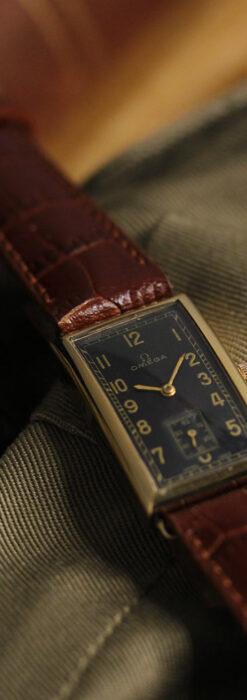 オメガのシックな黒色文字盤 品ある縦長アンティーク腕時計 【1940年製】-W1529-2