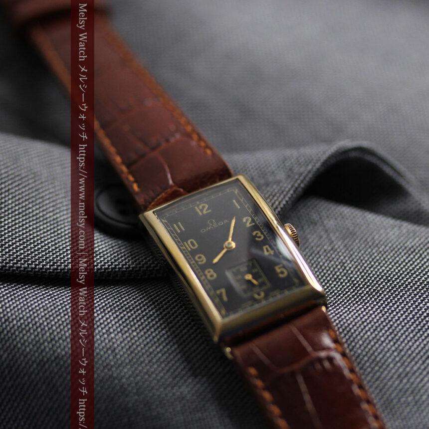 オメガのシックな黒色文字盤 品ある縦長アンティーク腕時計 【1940年製】-W1529-20