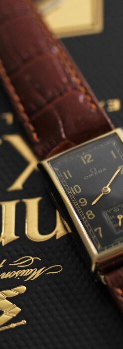 オメガのシックな黒色文字盤 品ある縦長アンティーク腕時計 【1940年製】-W1529-22