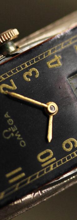 オメガのシックな黒色文字盤 品ある縦長アンティーク腕時計 【1940年製】-W1529-27