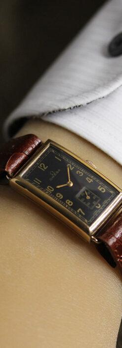 オメガのシックな黒色文字盤 品ある縦長アンティーク腕時計 【1940年製】-W1529-29
