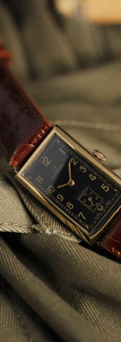 オメガのシックな黒色文字盤 品ある縦長アンティーク腕時計 【1940年製】-W1529-3