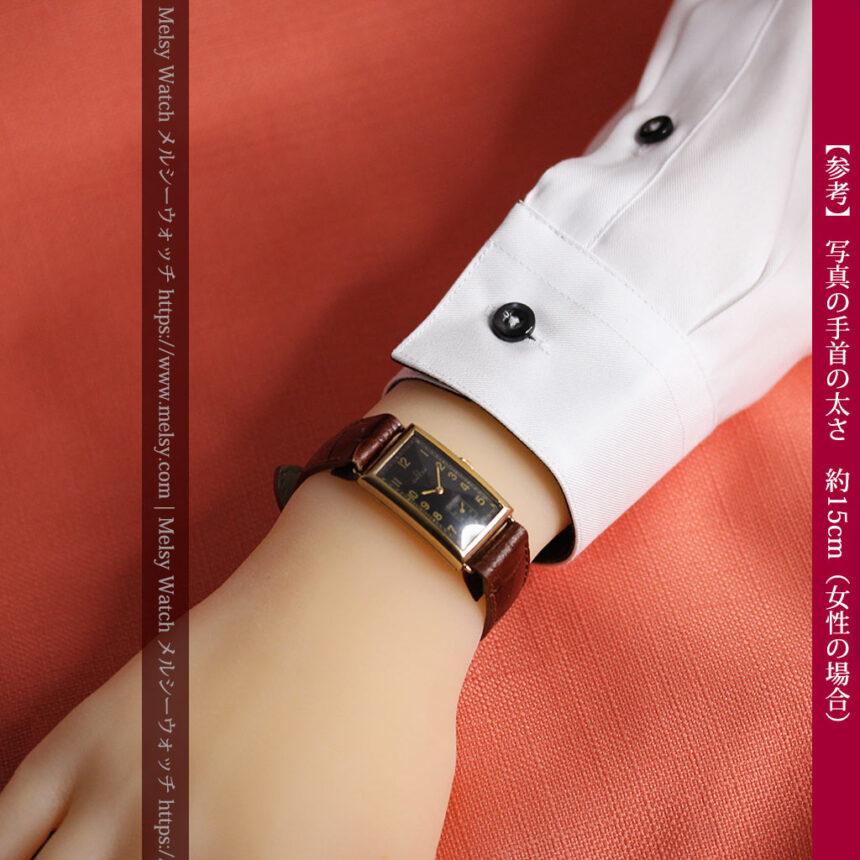 オメガのシックな黒色文字盤 品ある縦長アンティーク腕時計 【1940年製】-W1529-30
