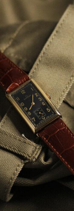 オメガのシックな黒色文字盤 品ある縦長アンティーク腕時計 【1940年製】-W1529-4