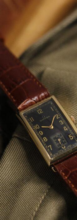 オメガのシックな黒色文字盤 品ある縦長アンティーク腕時計 【1940年製】-W1529-5