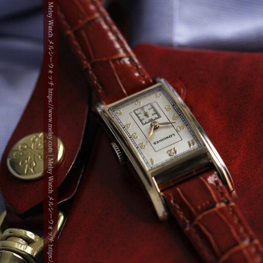 ロンジンの曲線の綺麗な縦長アンティーク金無垢腕時計 【1943年製】-W1530-1