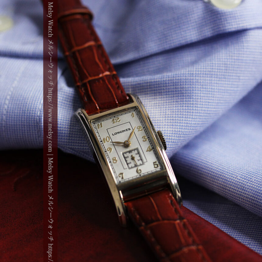 ロンジンの曲線の綺麗な縦長アンティーク金無垢腕時計 【1943年製】-W1530-10