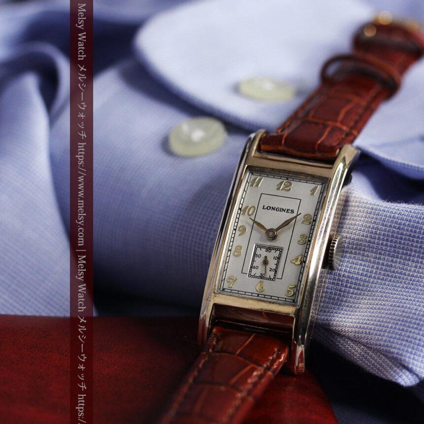 ロンジンの曲線の綺麗な縦長アンティーク金無垢腕時計 【1943年製】-W1530-11