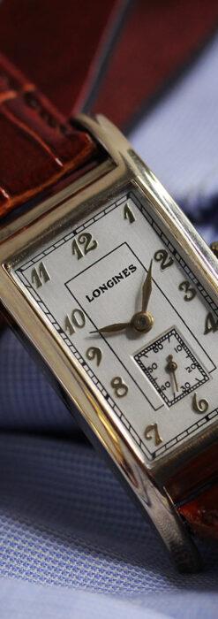 ロンジンの曲線の綺麗な縦長アンティーク金無垢腕時計 【1943年製】-W1530-12