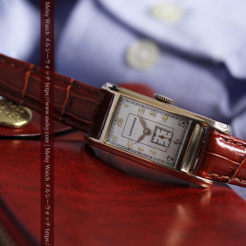 ロンジンの曲線の綺麗な縦長アンティーク金無垢腕時計 【1943年製】-W1530-13
