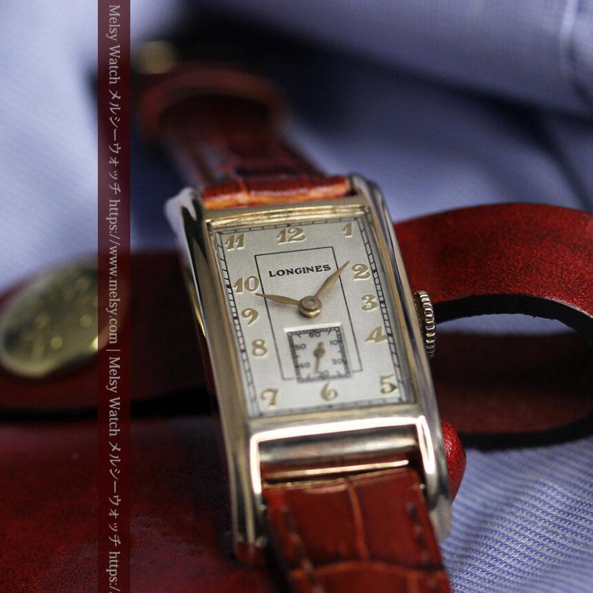 ロンジンの曲線の綺麗な縦長アンティーク金無垢腕時計 【1943年製】-W1530-14