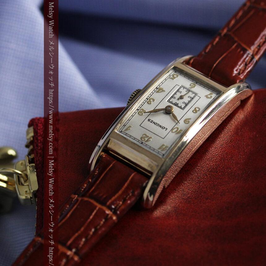ロンジンの曲線の綺麗な縦長アンティーク金無垢腕時計 【1943年製】-W1530-15
