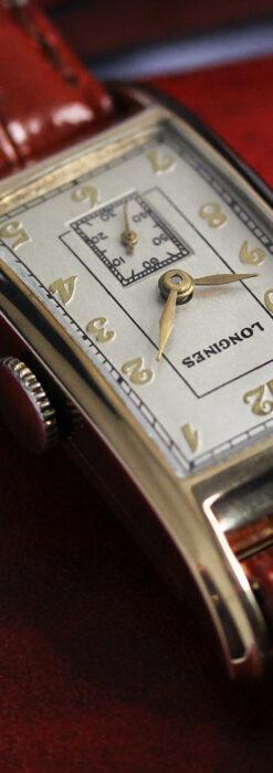 ロンジンの曲線の綺麗な縦長アンティーク金無垢腕時計 【1943年製】-W1530-16