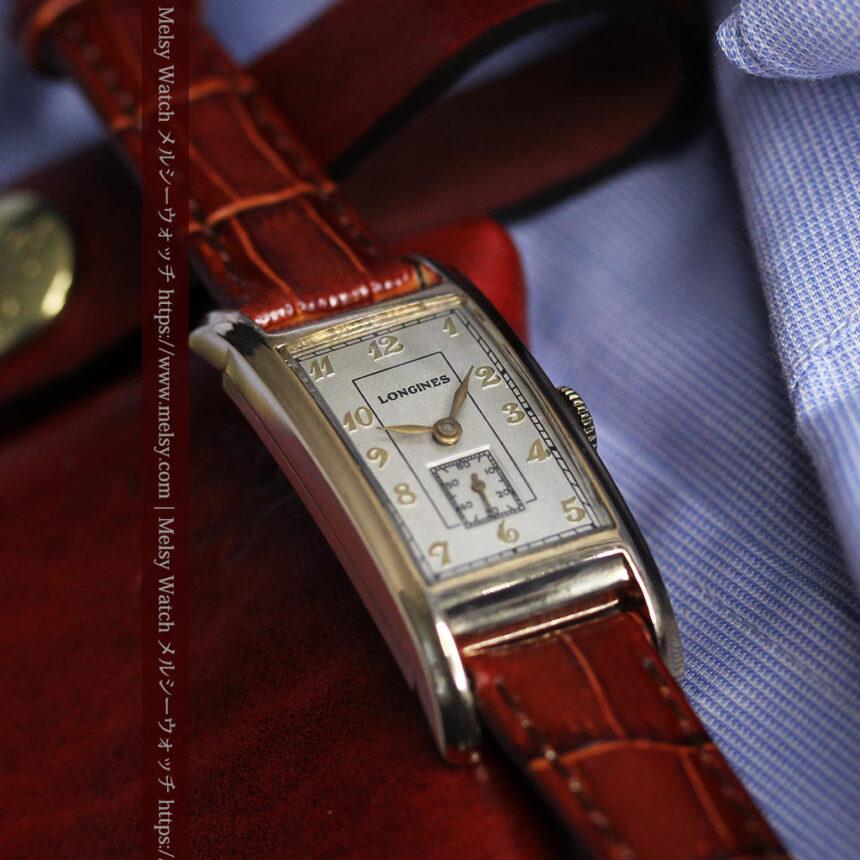ロンジンの曲線の綺麗な縦長アンティーク金無垢腕時計 【1943年製】-W1530-17