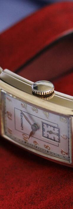 ロンジンの曲線の綺麗な縦長アンティーク金無垢腕時計 【1943年製】-W1530-18