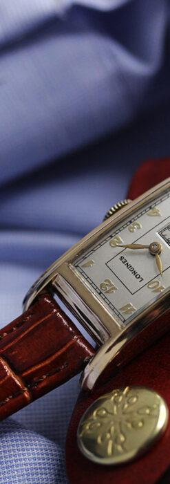 ロンジンの曲線の綺麗な縦長アンティーク金無垢腕時計 【1943年製】-W1530-2