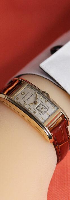 ロンジンの曲線の綺麗な縦長アンティーク金無垢腕時計 【1943年製】-W1530-28