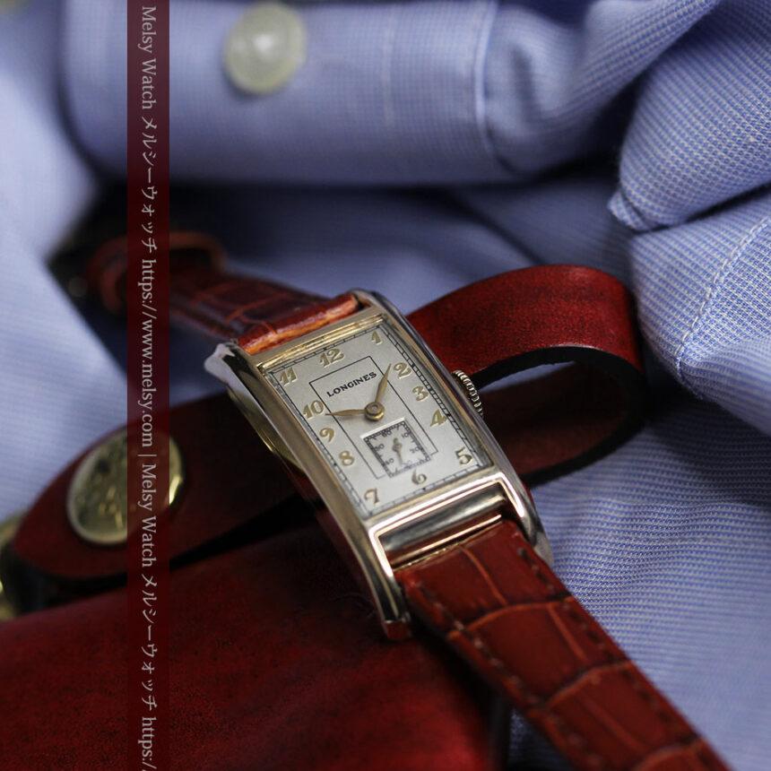 ロンジンの曲線の綺麗な縦長アンティーク金無垢腕時計 【1943年製】-W1530-3