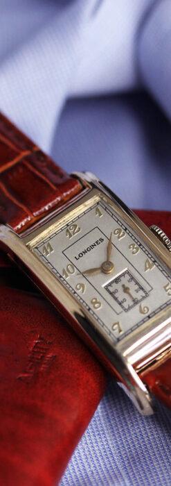 ロンジンの曲線の綺麗な縦長アンティーク金無垢腕時計 【1943年製】-W1530-4