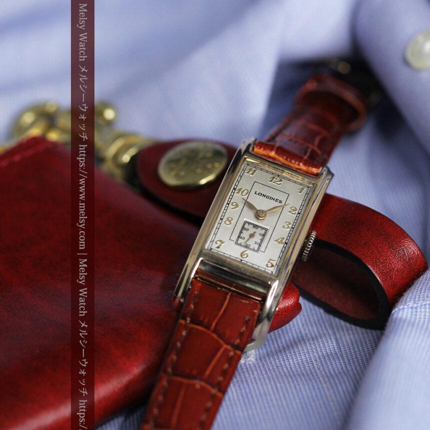 ロンジンの曲線の綺麗な縦長アンティーク金無垢腕時計 【1943年製】-W1530-5
