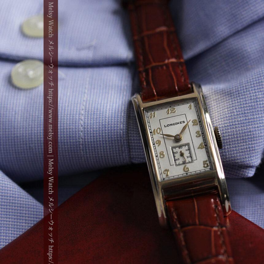 ロンジンの曲線の綺麗な縦長アンティーク金無垢腕時計 【1943年製】-W1530-6
