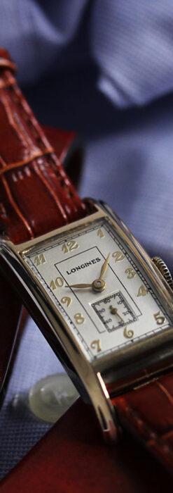 ロンジンの曲線の綺麗な縦長アンティーク金無垢腕時計 【1943年製】-W1530-7