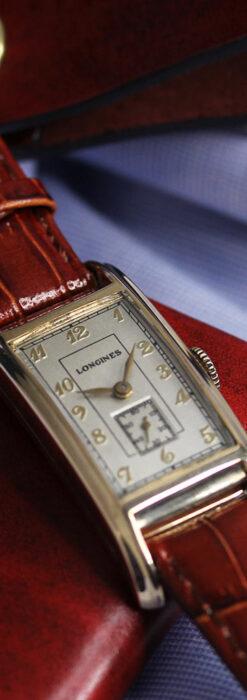 ロンジンの曲線の綺麗な縦長アンティーク金無垢腕時計 【1943年製】-W1530-8