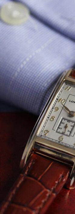 ロンジンの曲線の綺麗な縦長アンティーク金無垢腕時計 【1943年製】-W1530-9