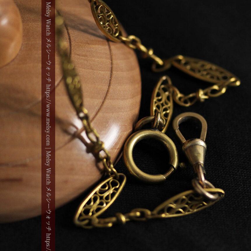 細工の綺麗な長めの懐中時計チェーン-C0490-11