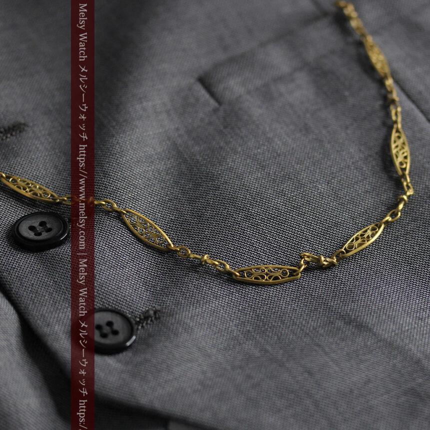 細工の綺麗な長めの懐中時計チェーン-C0490-2