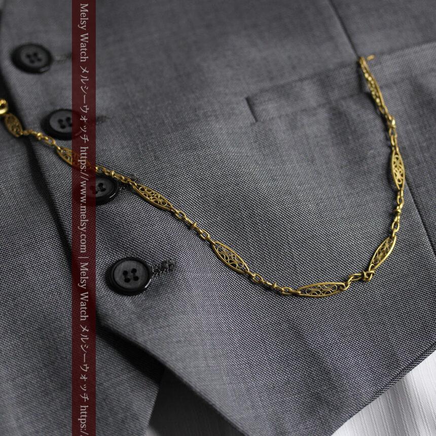 細工の綺麗な長めの懐中時計チェーン-C0490-3