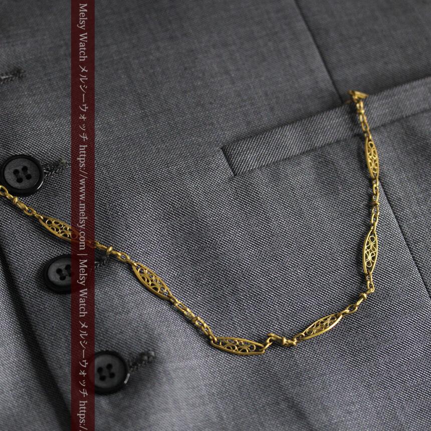 細工の綺麗な長めの懐中時計チェーン-C0490-4