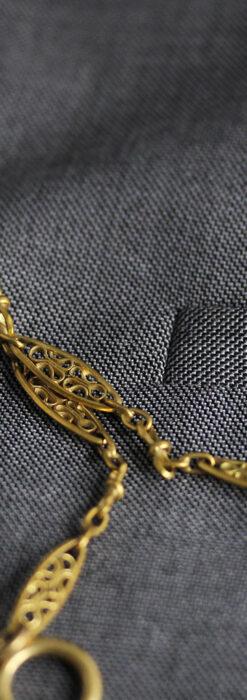 細工の綺麗な長めの懐中時計チェーン-C0490-5