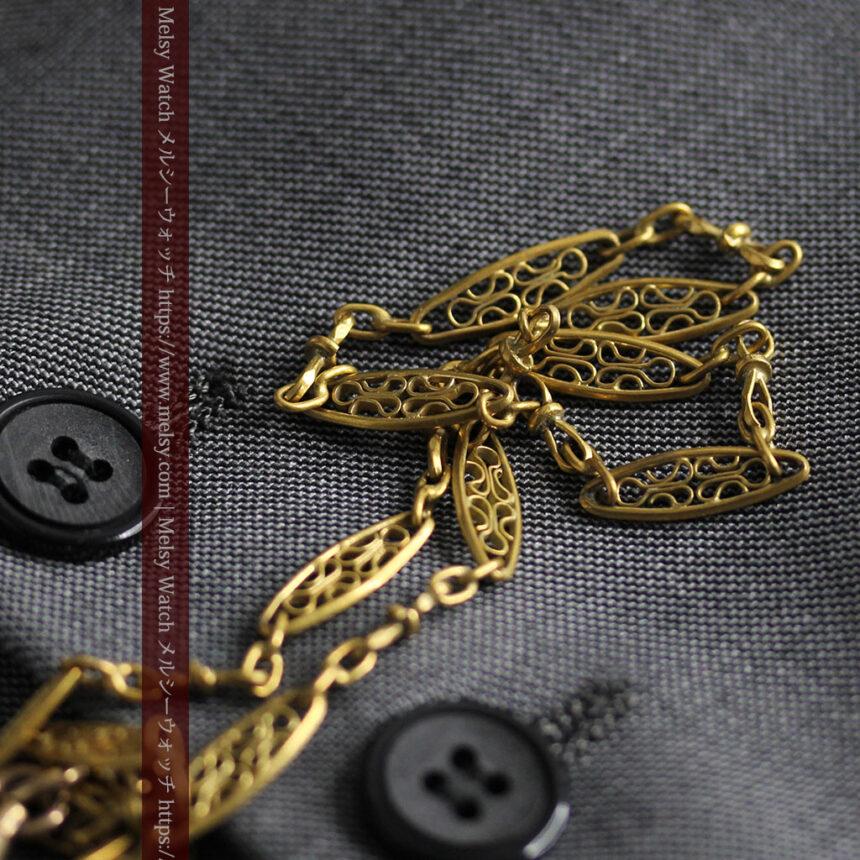 細工の綺麗な長めの懐中時計チェーン-C0490-6