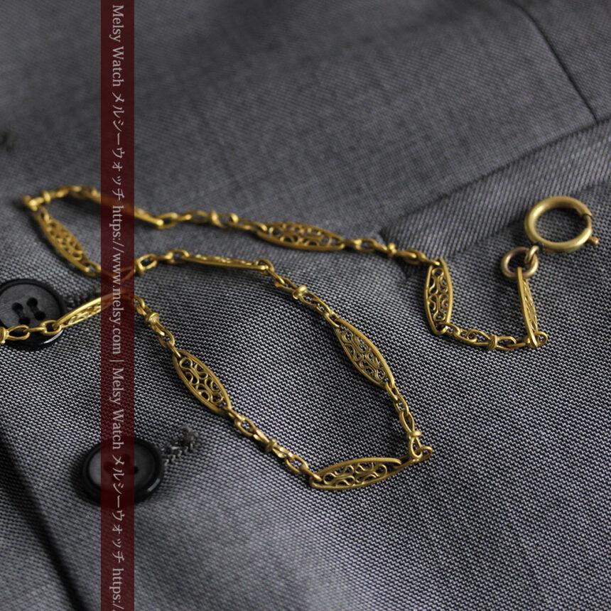 細工の綺麗な長めの懐中時計チェーン-C0490-8