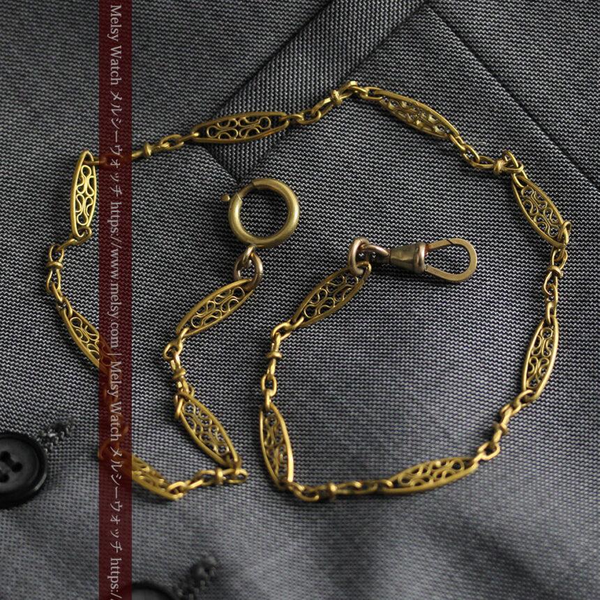 細工の綺麗な長めの懐中時計チェーン-C0490-9