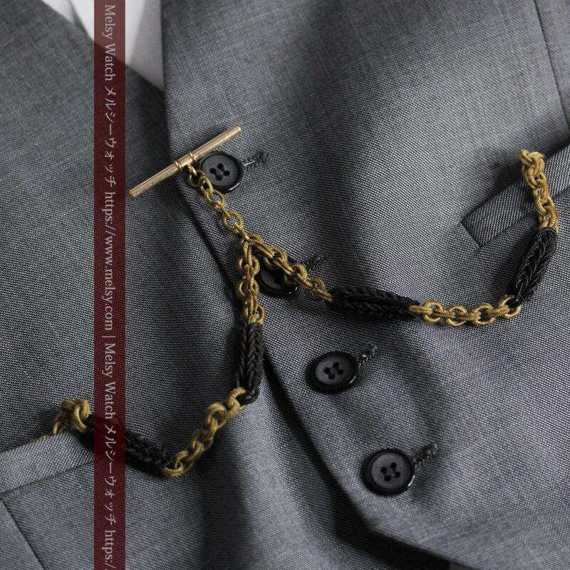 2色の毛で編まれたチェーン状のアンティーク懐中時計紐-C0491-1