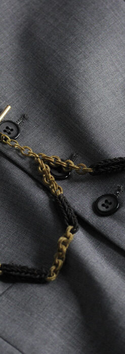 2色の毛で編まれたチェーン状のアンティーク懐中時計紐-C0491-2