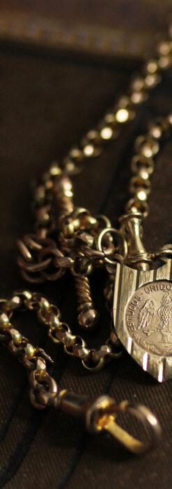 盾形飾りの付いた短いちょい掛け金無垢懐中時計チェーン-C0492-2