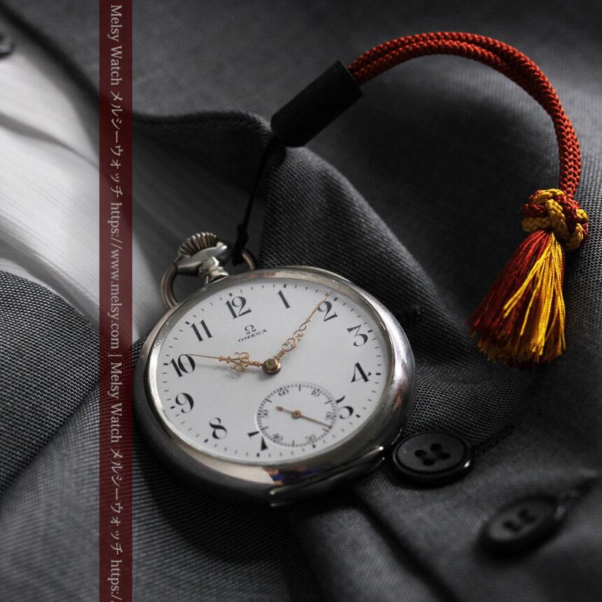オメガの上品で雰囲気のある銀無垢アンティーク懐中時計 【1914年製】-P2303-11