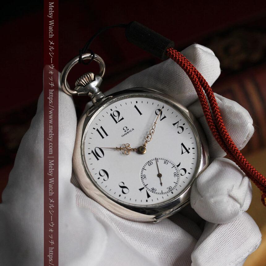 オメガの上品で雰囲気のある銀無垢アンティーク懐中時計 【1914年製】-P2303-12