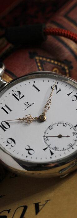 オメガの上品で雰囲気のある銀無垢アンティーク懐中時計 【1914年製】-P2303-13
