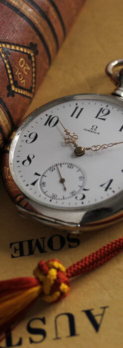 オメガの上品で雰囲気のある銀無垢アンティーク懐中時計 【1914年製】-P2303-3