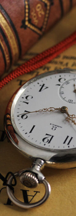 オメガの上品で雰囲気のある銀無垢アンティーク懐中時計 【1914年製】-P2303-4