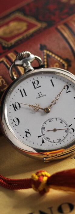 オメガの上品で雰囲気のある銀無垢アンティーク懐中時計 【1914年製】-P2303-5