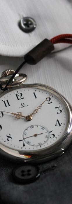 オメガの上品で雰囲気のある銀無垢アンティーク懐中時計 【1914年製】-P2303-7