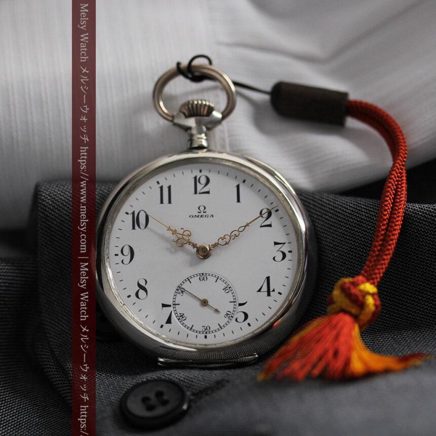 オメガの上品で雰囲気のある銀無垢アンティーク懐中時計 【1914年製】-P2303-8