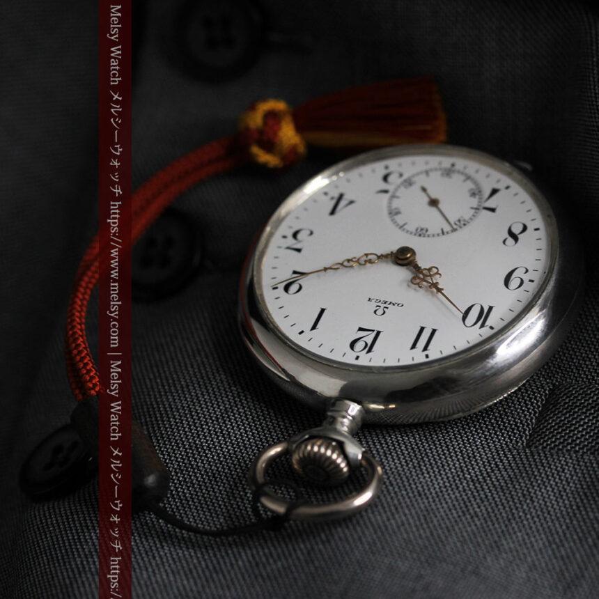 オメガの上品で雰囲気のある銀無垢アンティーク懐中時計 【1914年製】-P2303-9