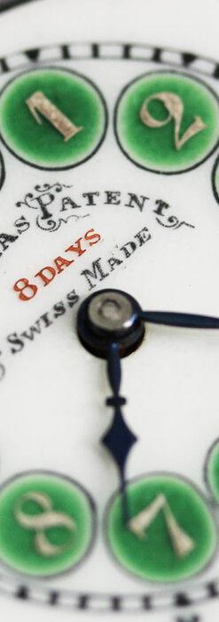 ヘブドマス 緑のエナメル装飾が美しい8日巻懐中時計 【1940年頃】-P2305-1